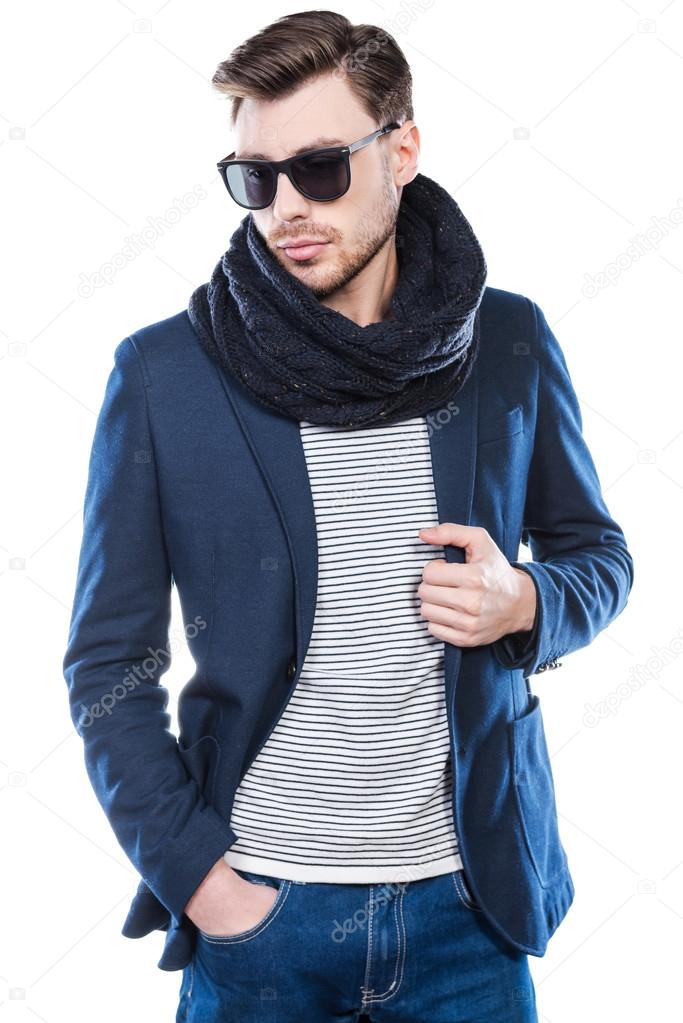 300864b0739 Fashionable young man in smart casual wear posing against white background  — Image de ...