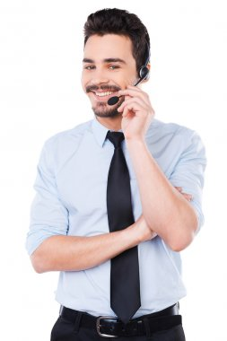 Male operator adjusting his headset