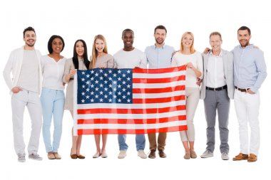 Group of people holding flag of America