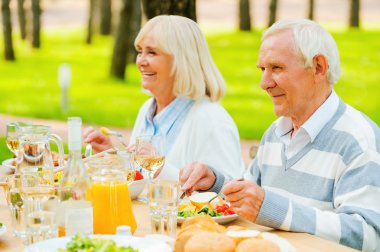 Senior couple enjoying meal  outdoors
