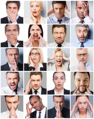 Collage of business people expressing emotions