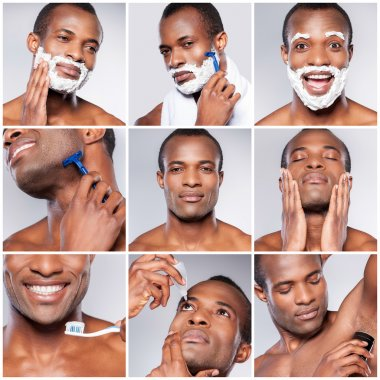 handsome young African man grooming