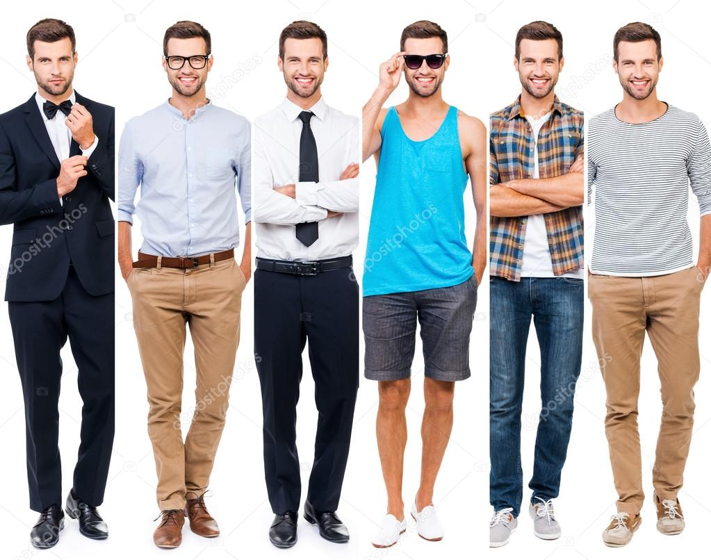 848f0e8e85f8 Collage of man wearing different clothing — Stock Photo ...