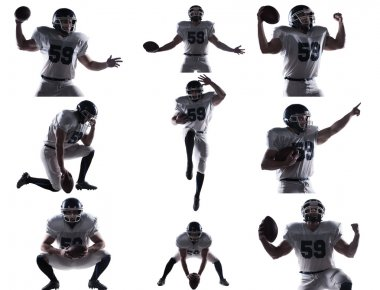Collage of American football player