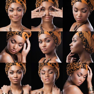 African queen. Collage of beautiful young African woman in ethnic style expressing different emotions while standing against black background