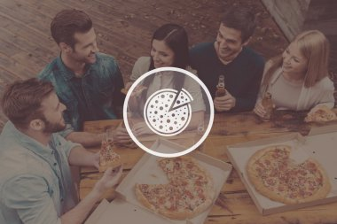 people holding bottles with beer and pizza