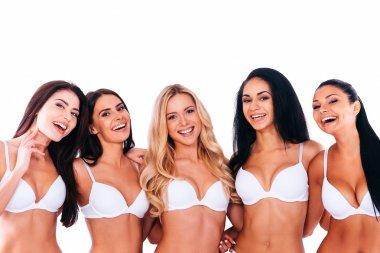 Women in lingerie bonding to each other