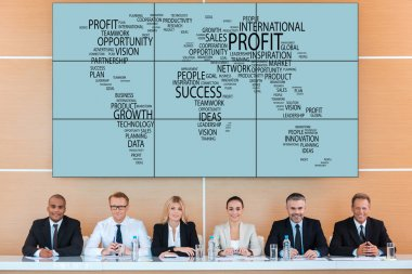 business people team  over world map