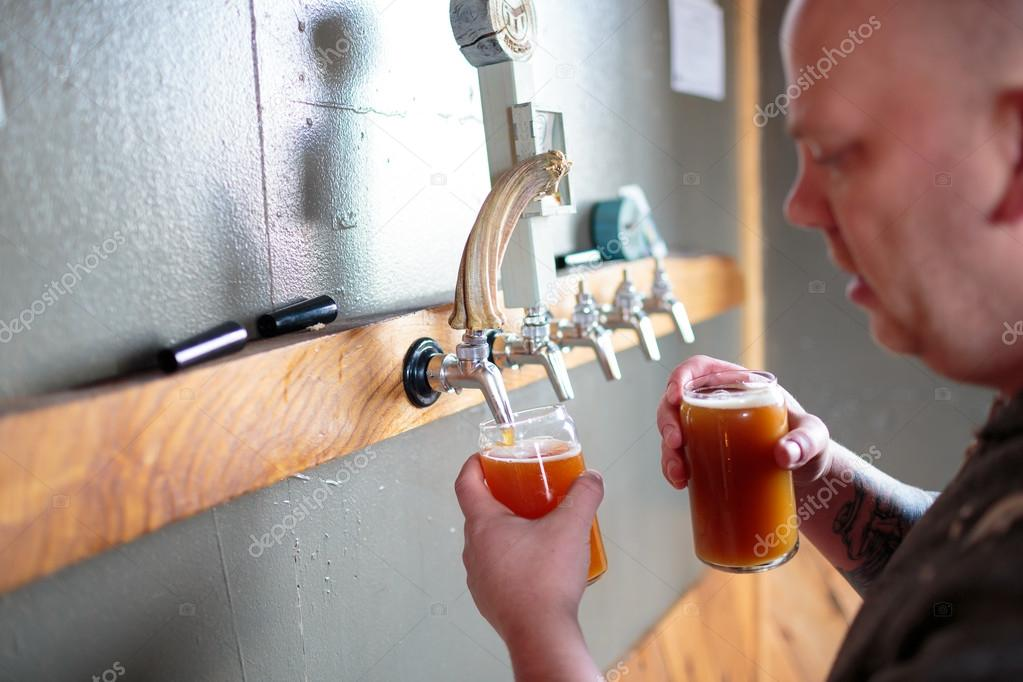 Commercial Craft Beer Making at Brewery