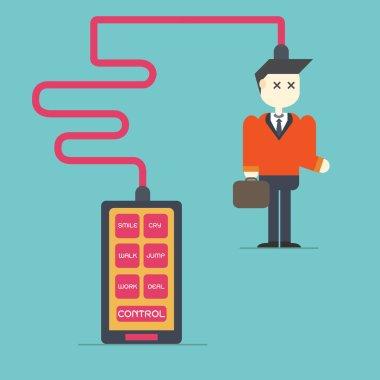 Smart Phone Addiction,control businessman,vector,illustration.