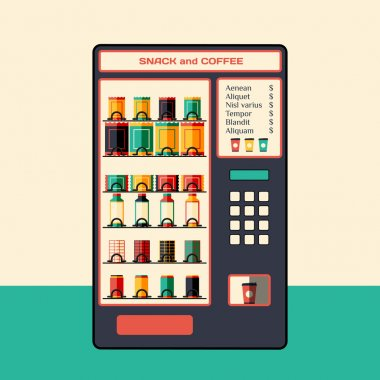 Vending machine for coffee and snacks. Flat vector illustration.