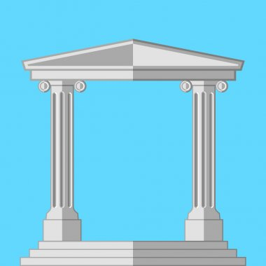 Antique Arch with columns . Flat vector illustration