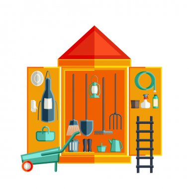 Garden tool storage. Storage Sheds. Flat vector illustration.