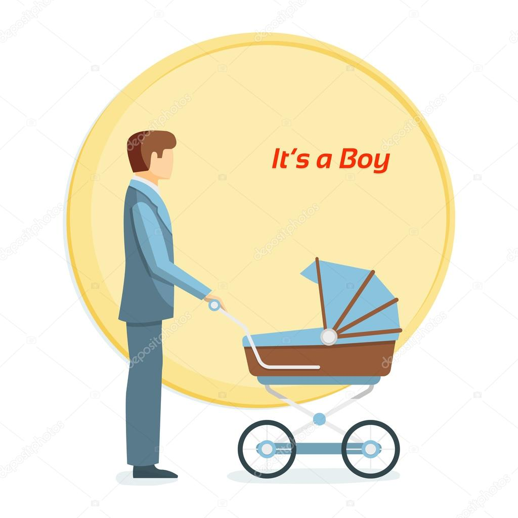 Father and baby. Its a boy. Flat vector illustration.