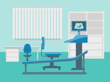 Medical room of ultrasound diagnostics. Abstract vector illustration.