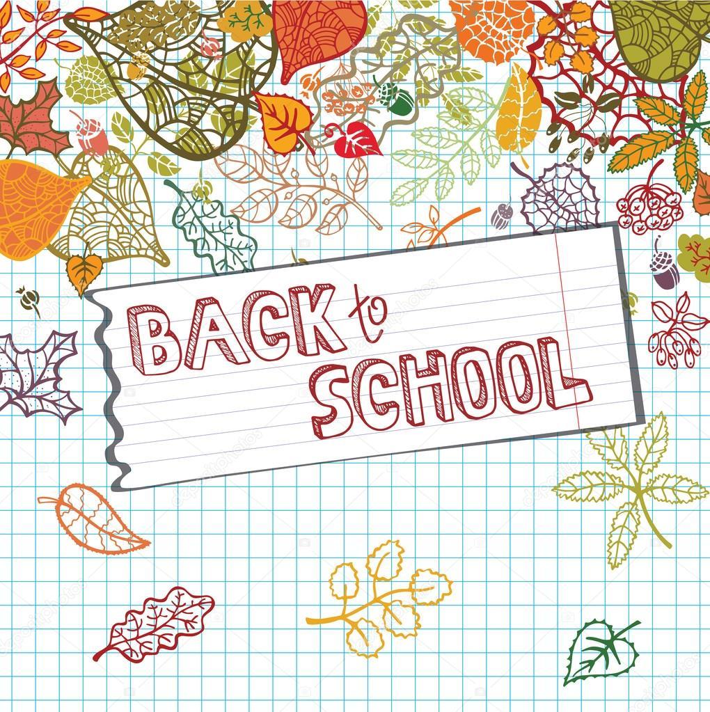 Regreso a la escuela. Las hojas de otoño, forrado de papel — Foto de ...