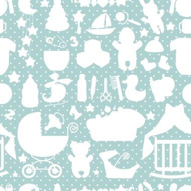 Sweet Newborn Baby boy seamless pattern.Polka dot