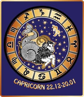 Capricorn zodiac sign.Horoscope circle.Retro