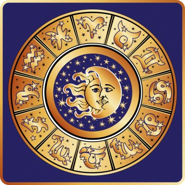 Horoscope zodiac sign circle with moon,sun