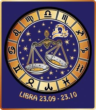 Libra zodiac sign.Horoscope circle.Retro Illustration
