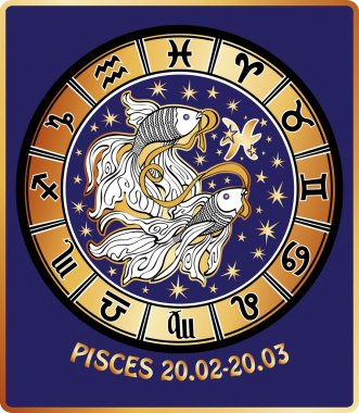 Pisces zodiac sign.Horoscope circle.Retro