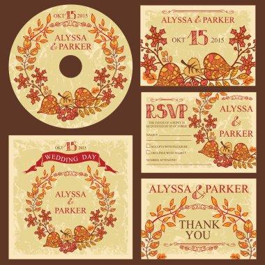Vintage fall wedding template set
