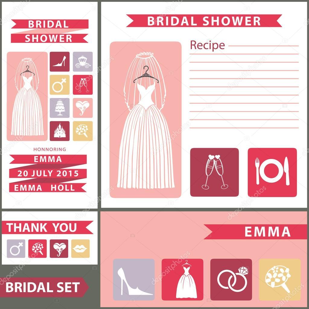 Plantilla de diseño de ducha nupcial con iconos flat — Fotos de ...