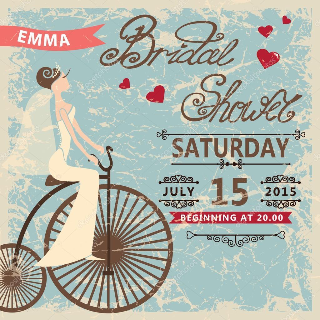 Retro bridal shower invitationide on retro bicycle stock photo retro bridal shower invitationide on retro bicycle stock photo filmwisefo