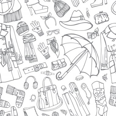 Coat and clothing accessories in seamless pattern.
