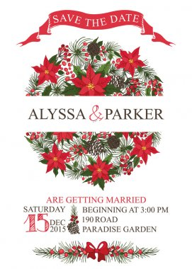 Winter wedding save date card