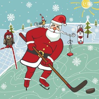 Santa playing ice hockey