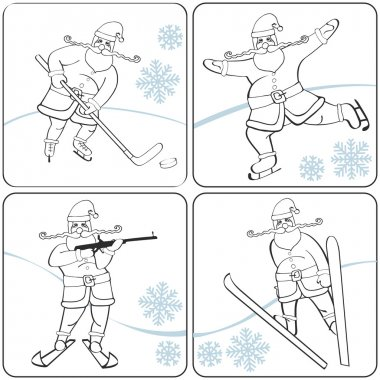 Santa playing winter sports