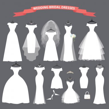 Set of bridal wedding dresses