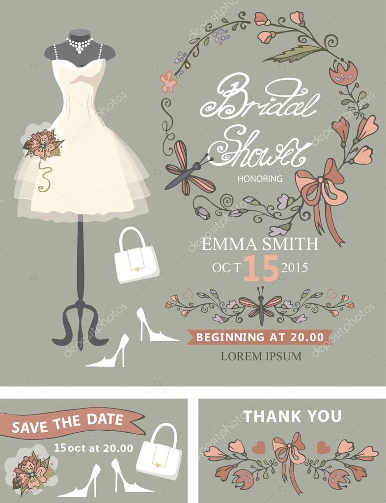 bridal shower template setwedding dress and bridal accessoriesfloral wreath hand writing textribbondress put on mannequinwedding invitationsave date