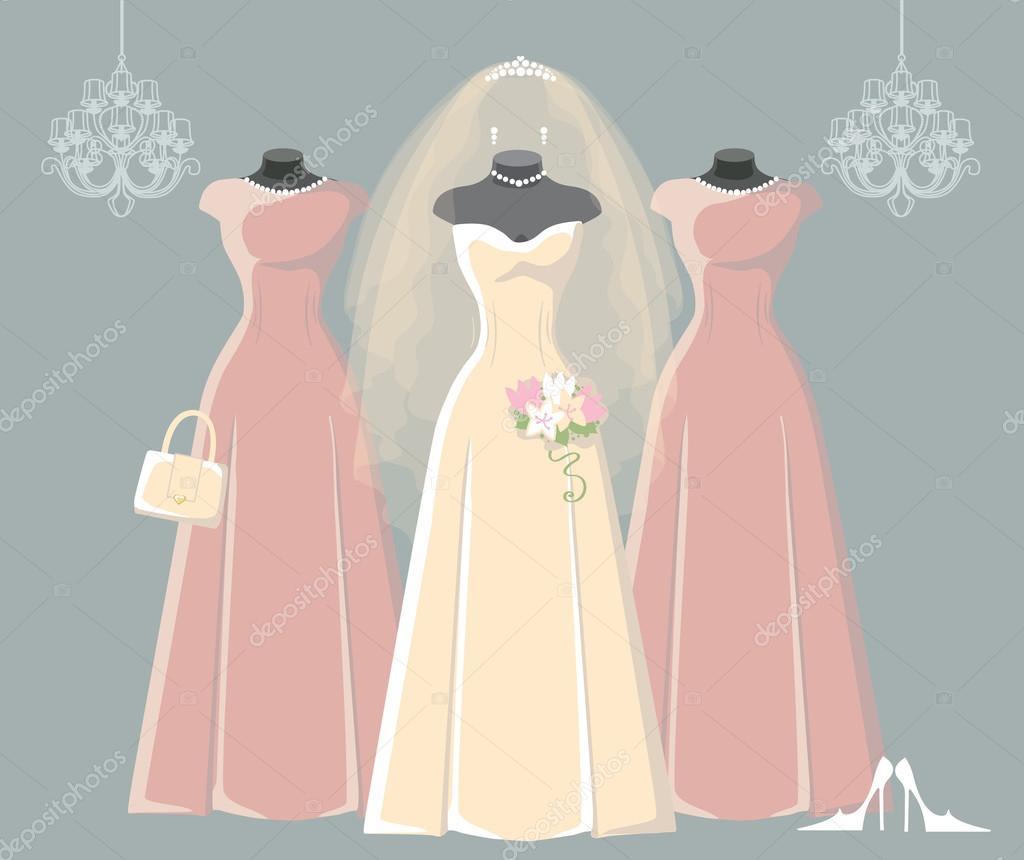 Vestidos de novia y Dama de honor de boda — Foto de stock ...