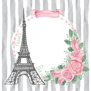 Paris  card with Eiffel tower
