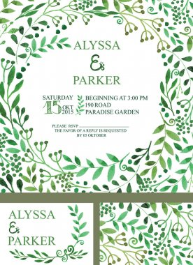 Wedding invitation with green  brunches