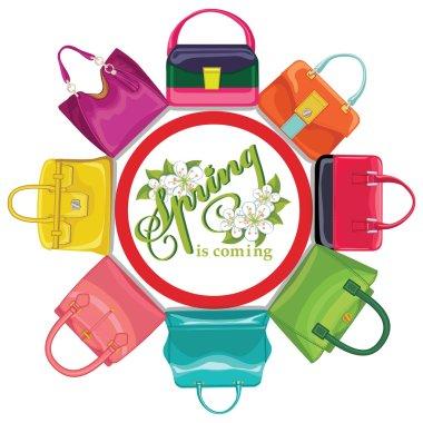 Multicoloured fashion womens handbags.