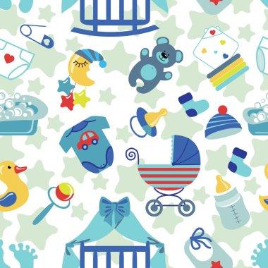 Newborn Baby boy seamless pattern