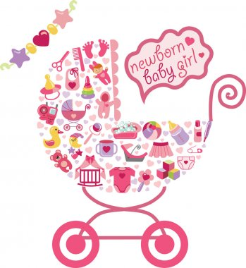 Newborn Baby girl icons in carriage