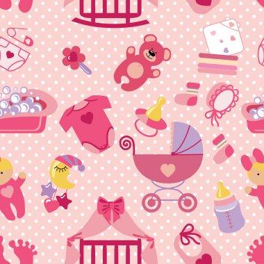 Newborn Baby girl seamless pattern.