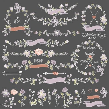 Colored Doodles floral decor set.