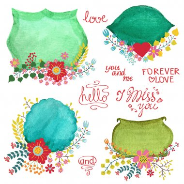 Watercolor retro labels with flowers.