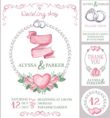 Watercolor wedding invitation set.