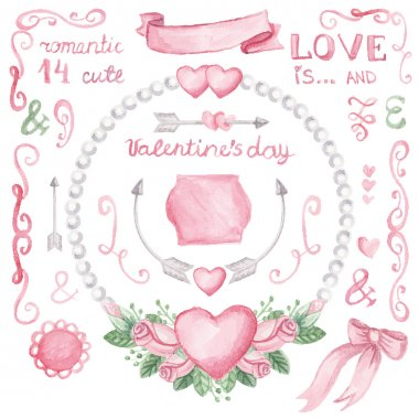Watercolor Valentine's day  set.