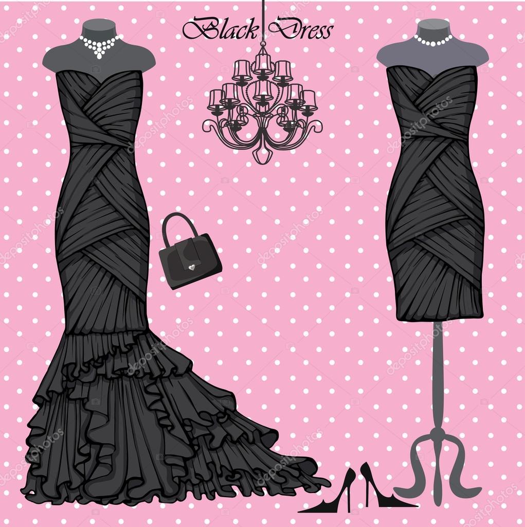 conjunto de vestidos negros — Fotos de Stock © Tatiana_Kost #75994603