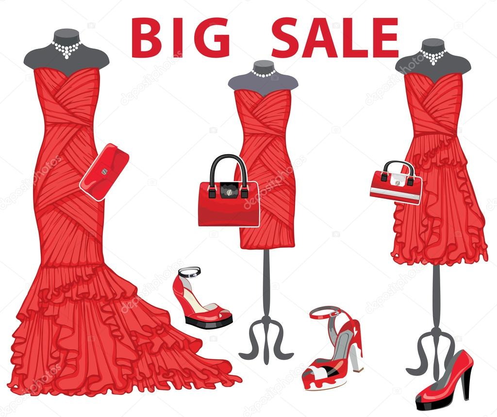f1c758dd8c70 Composition of the three females red coctail dresses with high heel  shoes