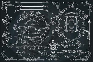 Curled calligraphic design elements set