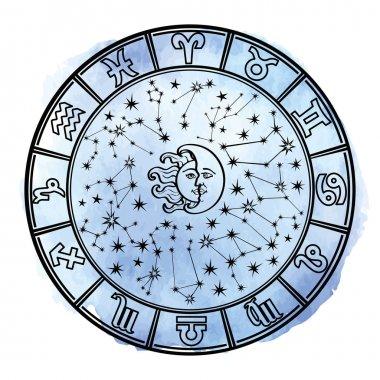 Zodiac sign in  Horoscope circle.
