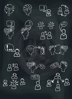 people communication with icons.